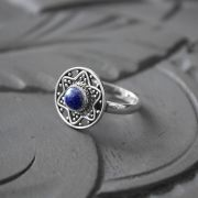 Indian silver and lapis stone ring S7.5