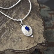 Indian silver and lapis gemstone pendant