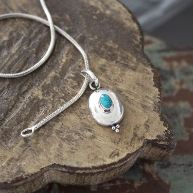 Indian silver and turquoise gemstone pendant