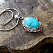 Indian silver, turquoise and coral stones pendant