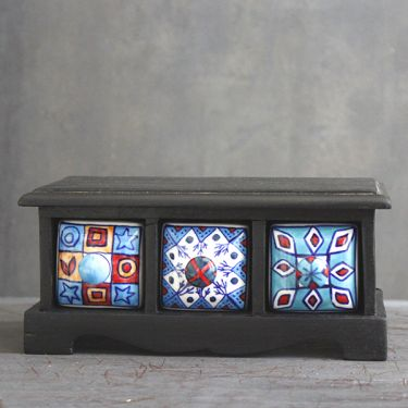 Indian box with 3 drawers ceramic blue