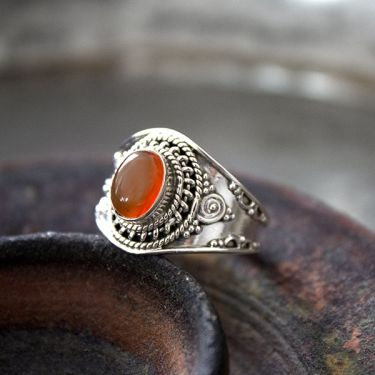Indian silver and carnelian stone ring Size choice