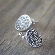 Indian silver and marcasite stones studs