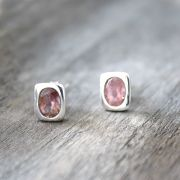 Indian silver and tourmaline stones studs