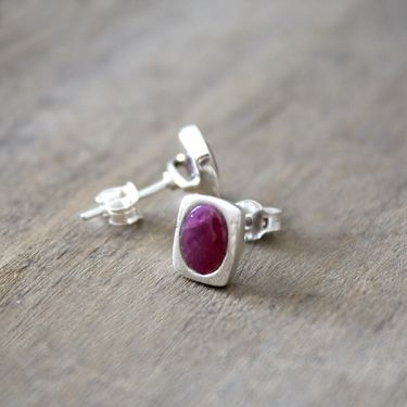 Indian silver and ruby stones studs