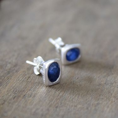Indian silver and blue sapphire stones studs