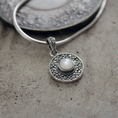 Silver pearl and marcasite stones Indian pendant