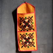 Indian letter holder cotton 2 pockets flower