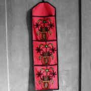 Indian letter holder cotton 3 pockets flowers