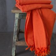 Couverture de canapé coton uni indien orange