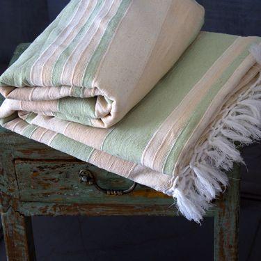 Indian sofa or bed cover green and white