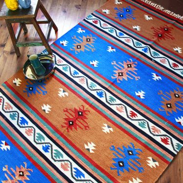 Indian carpet coton and jute blue and brown Dari