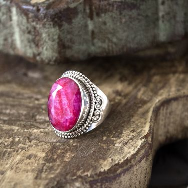 Indian silver and red corundum stone ring Size choice