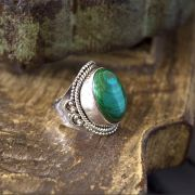 Indian silver and malachite stone ring S6