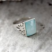 Indian silver ring and chalcedony aqua S9