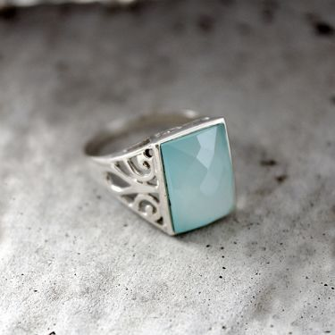Indian silver ring and chalcedony aqua