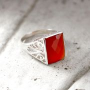 Indian silver ring with carnelian stone S9