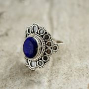 Silver and lapis stone Indian ring S7