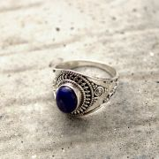 Indian silver and lapis stone ring S9