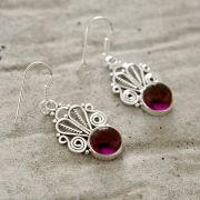 Silver and amethysts stones Indian earrings