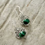 Silver and malachite stones Indian earrings