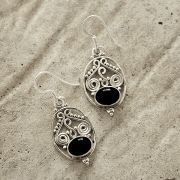 Silver and black onyx stones Indian earrings