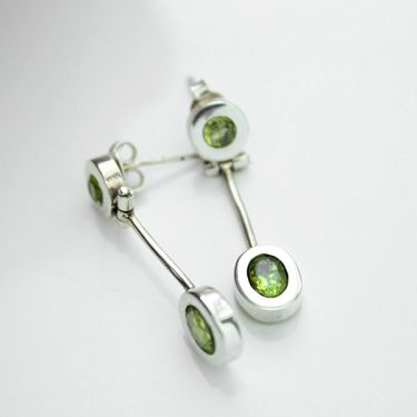 Silver and peridot Indian ethnic earrings