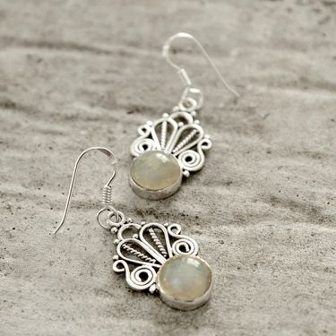 Silver and moonstones Indian earrings