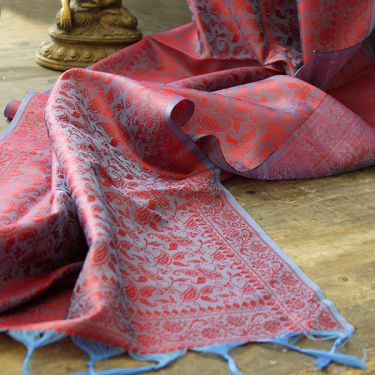 Indian handicraft table runner blue and purple