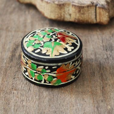 Indian papier mache box small round