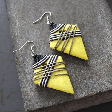Indian wooden fancy earrings yellow