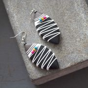 Indian wooden fancy earrings black and white