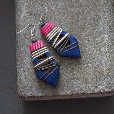 Indian wooden fancy earrings blue and pink
