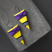 Indian wooden fancy earrings yellow and purple