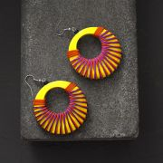 Indian wooden fancy earrings yellow and orange
