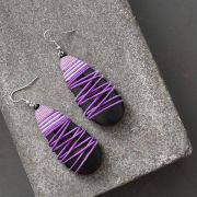 Indian wooden fancy earrings black and purple
