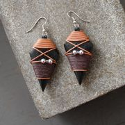 Indian wooden fancy earrings brown and black