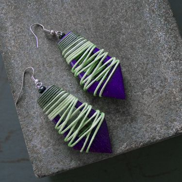Indian wooden fancy earrings green and purple
