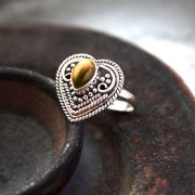 Indian silver and tiger stone ring S7.5