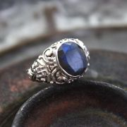 Indian silver and blue corundum stone ring S7