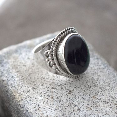 Indian silver and black onyx stone ring S9.5