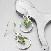 Indian silver and peridot gemstones earrings