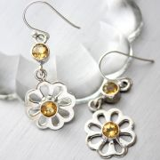 Indian silver and citrine gemstones earrings