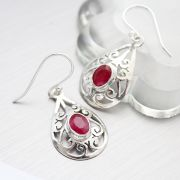 Indian silver and ruby gemstones earrings