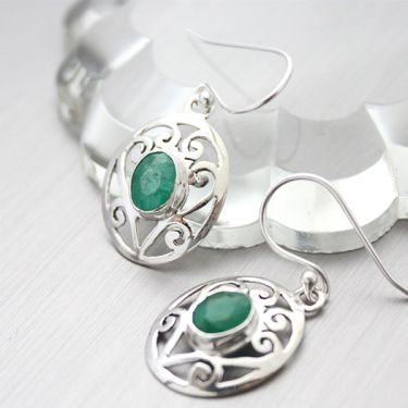 Indian silver and emerald gemstones earrings