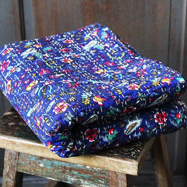couvre lit coton artisanal rayé Couverture indienne en coton artisanal, par Pankaj boutique indienne couvre lit coton artisanal rayé