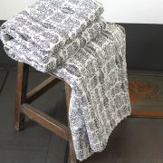 Indian handicraft bed cover Kantha black and white