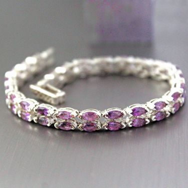 Indian silver and amethyst stones bracelet