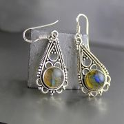Silver and labradorite stones Indian earrings
