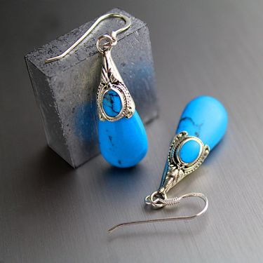Indian silver and turquoise blue stones earrings